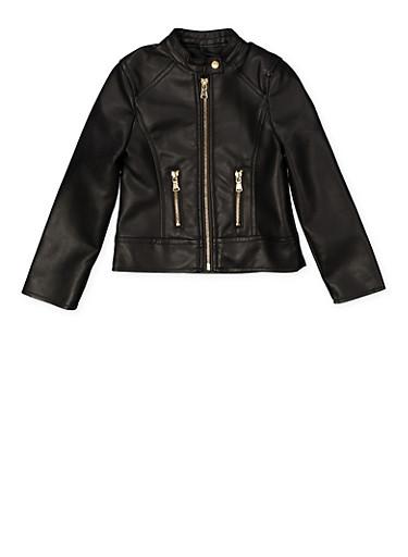Girls 4-6x Faux Leather Moto Jacket,BLACK,large