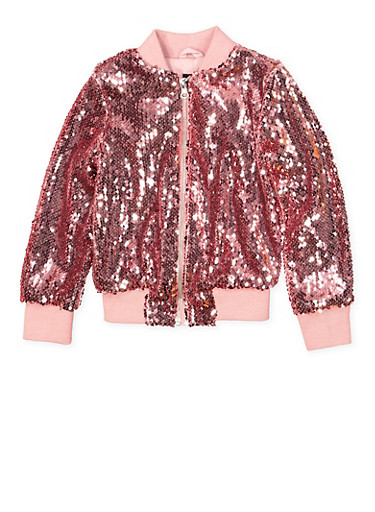 Girls 4-6x Sequin Bomber Jacket,MAUVE,large