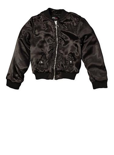 Girls 4-6X Zip Front Bomber Jacket,BLACK,large