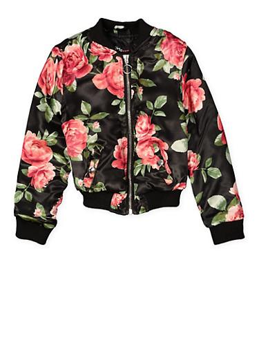 Girls 4-6x Floral Bomber Jacket,BLACK,large