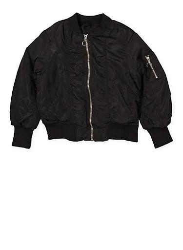 Girls 4-6x Ruched Bomber Jacket,BLACK,large