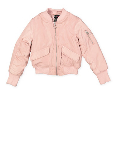 Girls 4-6x Bomber Jacket,MAUVE,large