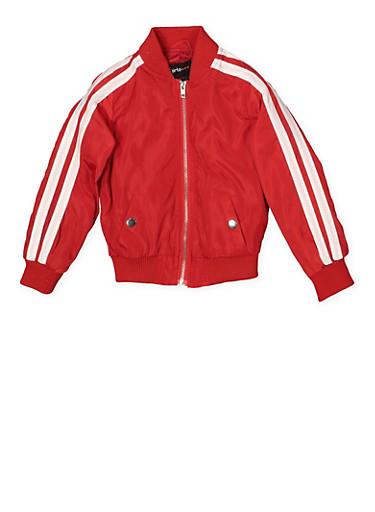 Girls 4-6x Varsity Stripe Bomber Jacket | Red,RED,large