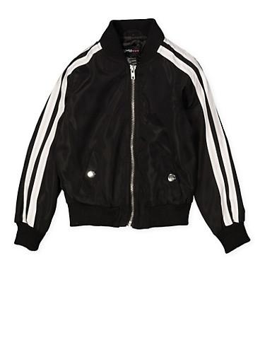 Girls 4-6x Varsity Stripe Bomber Jacket | Black,BLACK,large