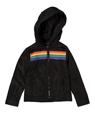 Girls 4-6x Black Rainbow Stripe Windbreaker,BLACK,large