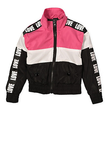 Girls 4-6x Love Color Block Windbreaker,BLACK/WHITE,large