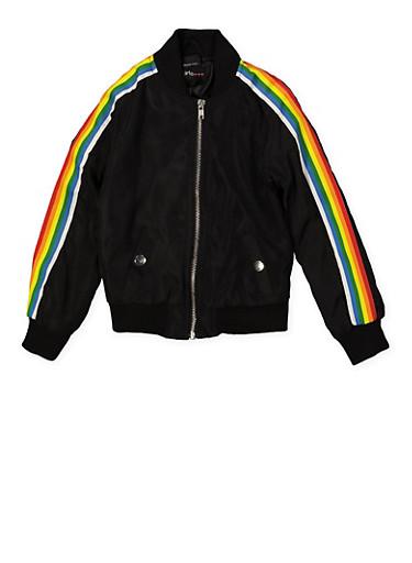 Girls 4-6x Rainbow Striped Tape Bomber Jacket | Black,BLACK,large