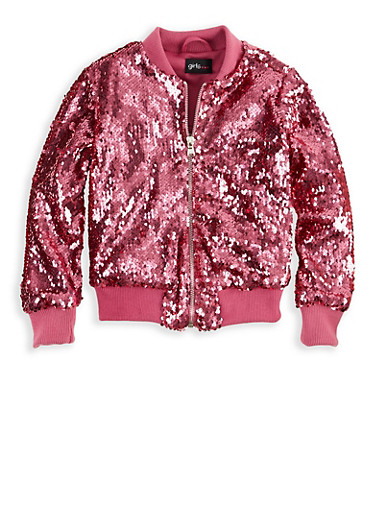 Girls 4-6x Pink Sequin Bomber Jacket,FUCHSIA,large