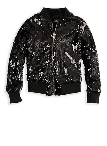 Girls 4-6x Sequin Bomber Jacket,BLACK,large