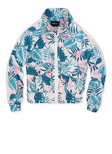 Girls 4-6x Floral Windbreaker Jacket,IVORY,large
