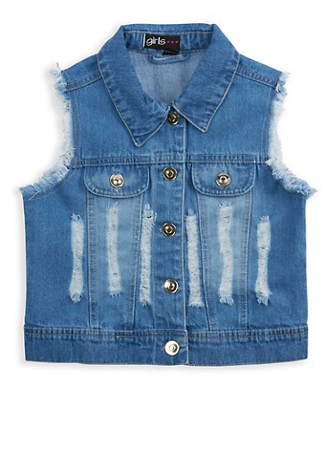 Girls 7-16 Distressed Denim Vest | Tuggl