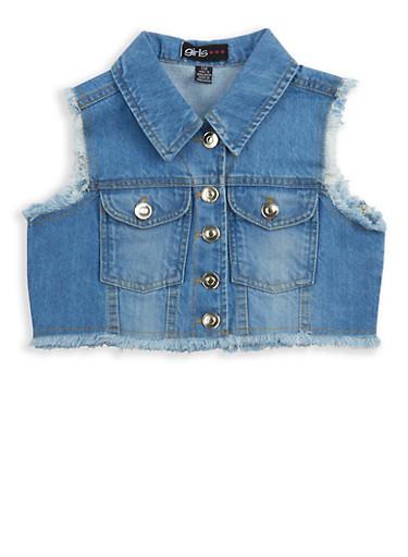 Girls 7-16 Cropped Denim Vest,DENIM,large
