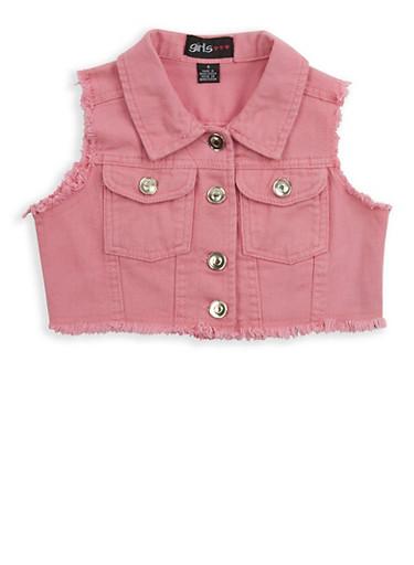 Girls 7-16 Cropped Denim Vest,MAUVE,large