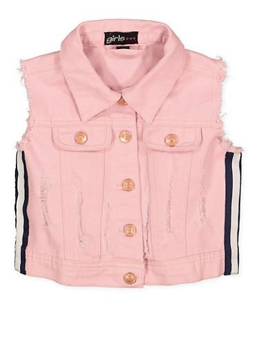 Girls 7-16 Striped Tape Denim Vest | 1627038340060,PINK,large