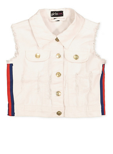 Girls 7-16 Striped Tape Frayed Denim Vest | White,WHITE,large