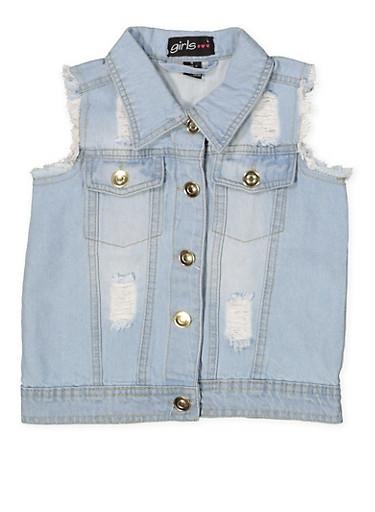 Girls 7-16 Frayed and Distressed Denim Vest,LIGHT WASH,large