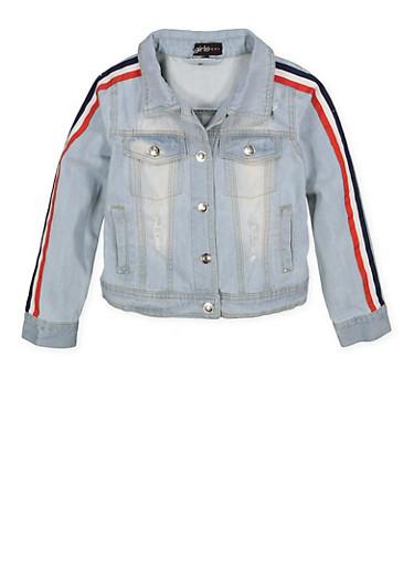 Girls 7-16 Tape Sleeve Denim Jacket,LIGHT WASH,large