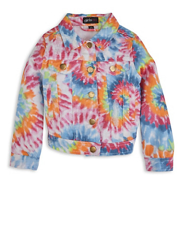 Girls Tie Dye Denim Jacket,YELLOW,large