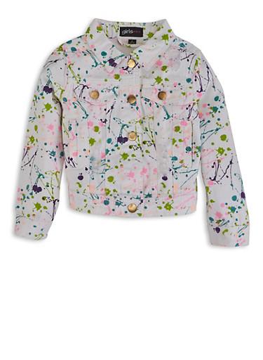 Girls Paint Splatter Denim Jacket,WHITE,large