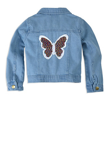 Girls Reversible Sequin Patch Jean Jacket,WHITE,large