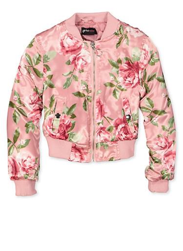 Girls 7-16 Floral Bomber Jacket,MAUVE,large