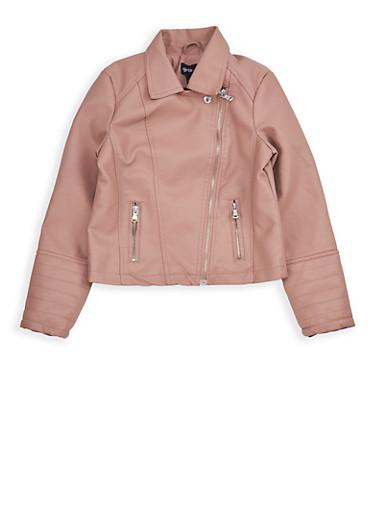 Girls 7-16 Mauve Faux Leather Moto Jacket,MAUVE,large
