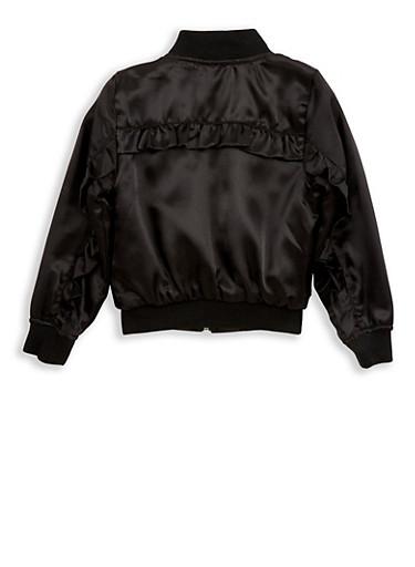 Girls 7-16 Ruffle Back Satin Bomber Jacket,BLACK,large