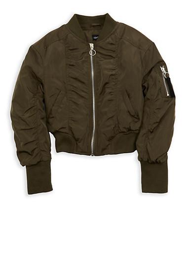 Girls 7-16 Ruched Nylon Bomber Jacket,OLIVE,large