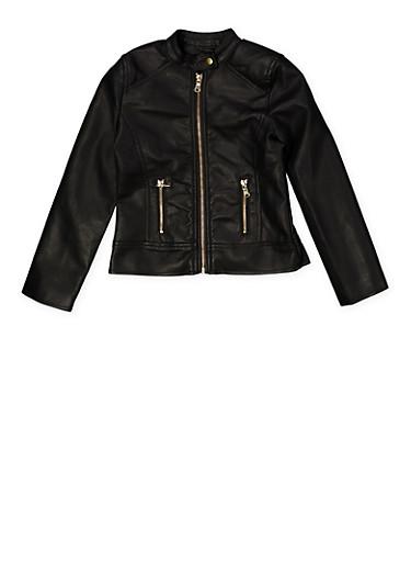 Girls 7-16 Zip Moto Jacket,BLACK,large