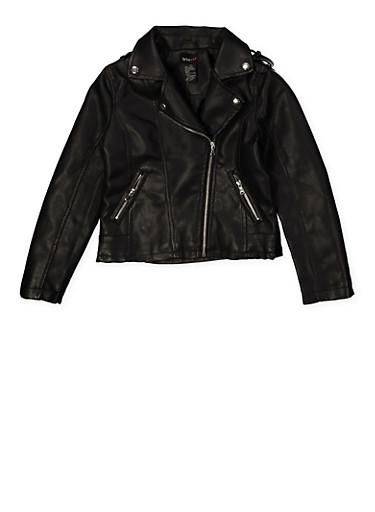 Girls 7-16 Asymmetrical Zipper Moto Jacket,BLACK,large