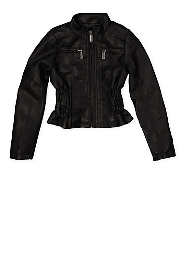 Girls 7-16 Ruched Faux Leather Jacket,BLACK,large