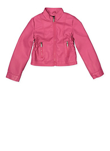 Girls 7-16 Faux Leather Moto Jacket,FUCHSIA,large