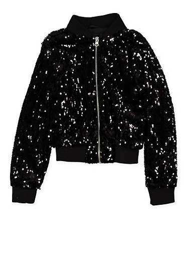 Girls 7-16 Sequin Bomber Jacket,BLACK,large