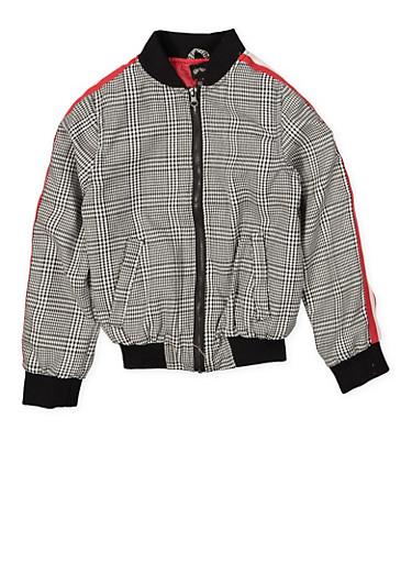 Girls 7-16 Plaid Bomber Jacket,BLACK/WHITE,large