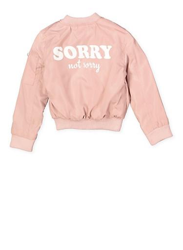 Girls 7-16 Sorry Not Sorry Bomber Jacket,MAUVE,large