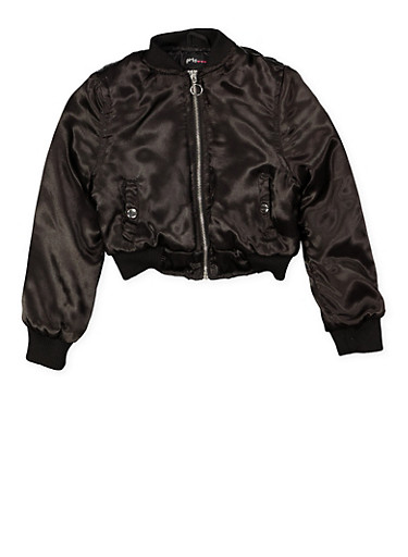 Girls 7-16 Satin Bomber Jacket,BLACK,large