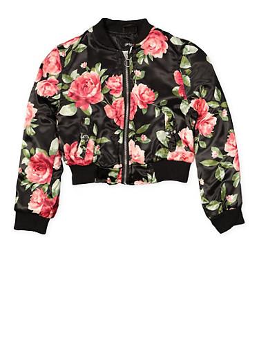 Girls 7-16 Floral Satin Bomber Jacket,BLACK,large