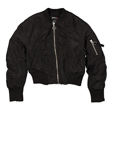 Girls 7-16 Ruched Bomber Jacket,BLACK,large