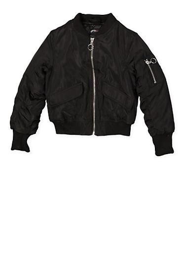 Girls 7-16 Ruched Sleeve Bomber Jacket,BLACK,large