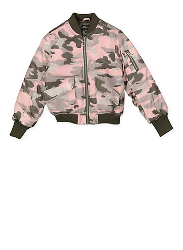 Girls 7-16 Camo Bomber Jacket,MAUVE,large