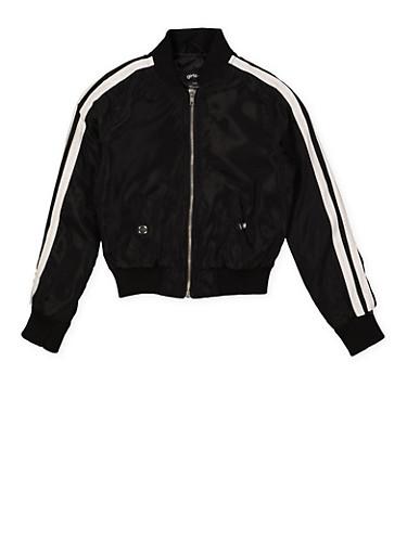 Girls 7-16 Varsity Stripe Bomber Jacket,BLACK,large