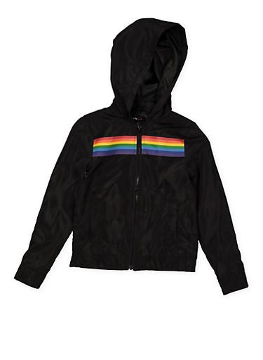 Girls 7-16 Rainbow Trim Windbreaker,BLACK,large