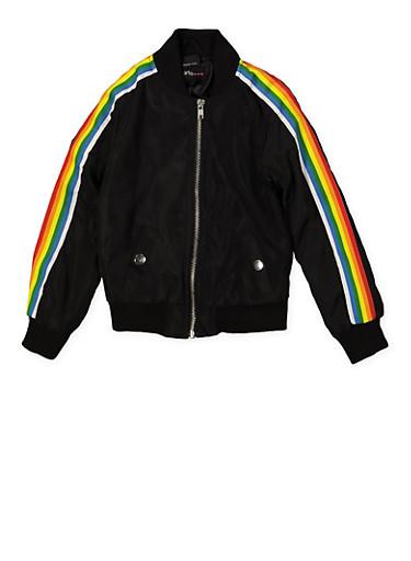 Girls 7-16 Rainbow Striped Tape Bomber Jacket | Black,BLACK,large