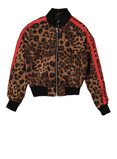 Girls 7-16 Varsity Stripe Leopard Bomber Jacket | Brown,BROWN,large