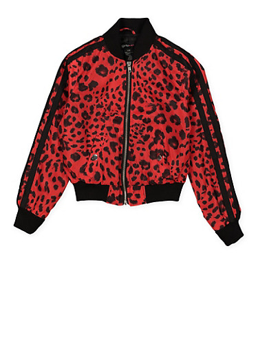 Girls 7-16 Varsity Stripe Leopard Bomber Jacket | Red,RED,large
