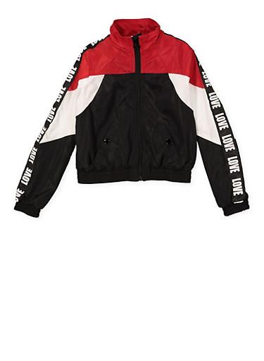 Girls 7-16 Love Tape Color Block Windbreaker Track Jacket,BLACK,large