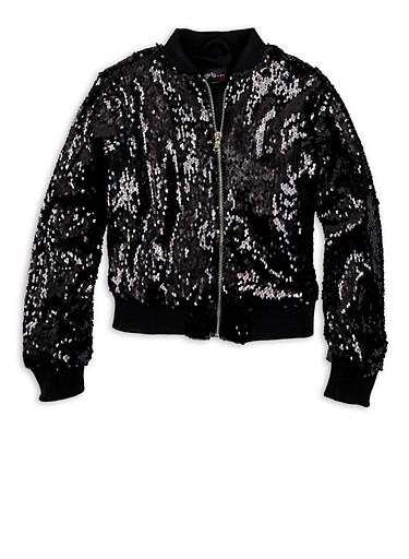 Girls 7-16 Black Sequin Zip Bomber Jacket,BLACK,large