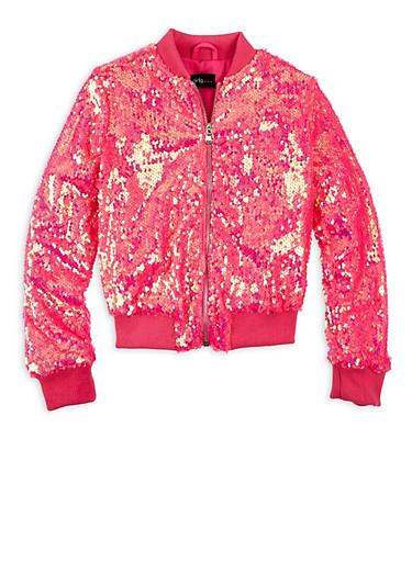 Girls 7-16 Pink Sequin Zip Bomber Jacket,NEON PINK,large