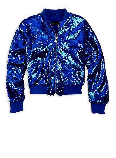 Girls 7-16 Blue Sequin Zip Bomber Jacket,RYL BLUE,large