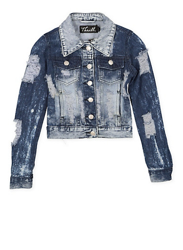 Girls 7-16 Destroyed Denim Jacket,DENIM,large